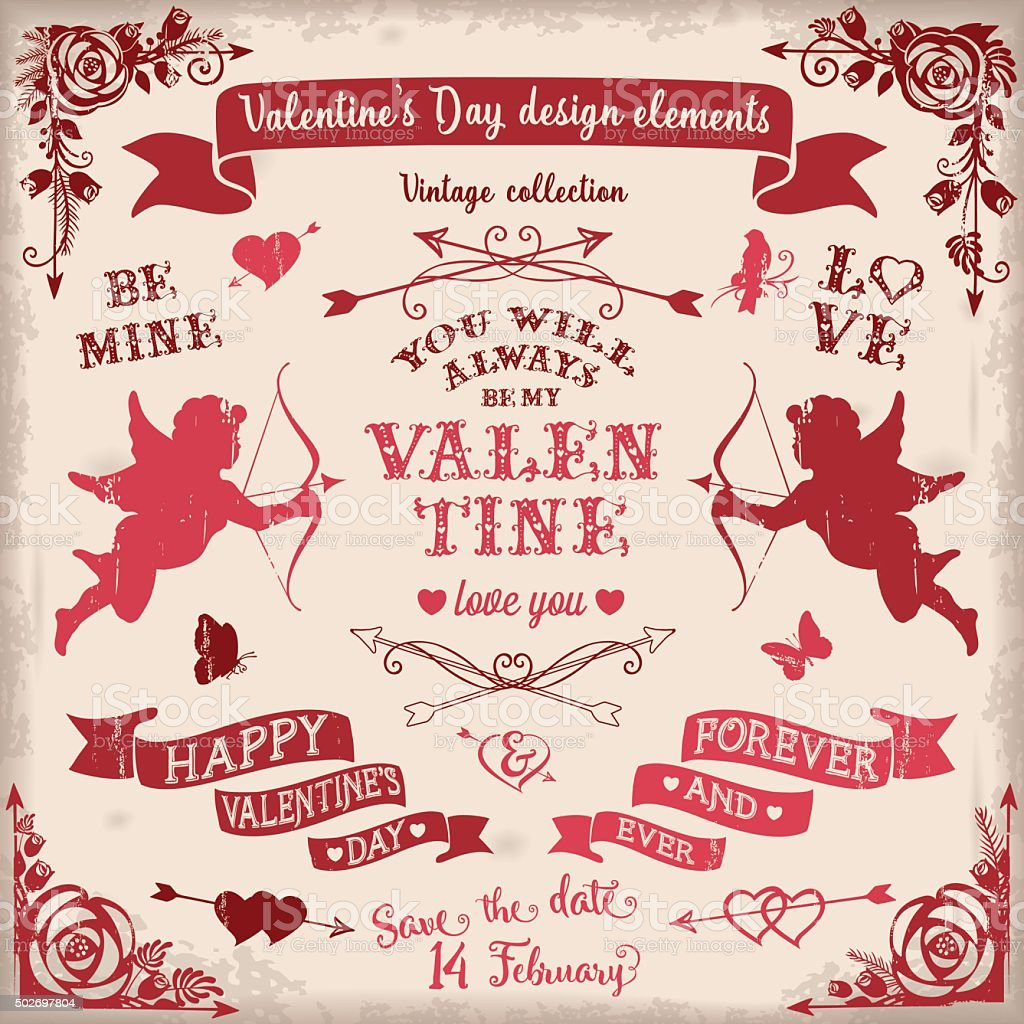 Valentine's Day vintage design elements set in burgundy colors vector art illustration