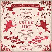 Valentine's Day vintage design elements set in burgundy colors