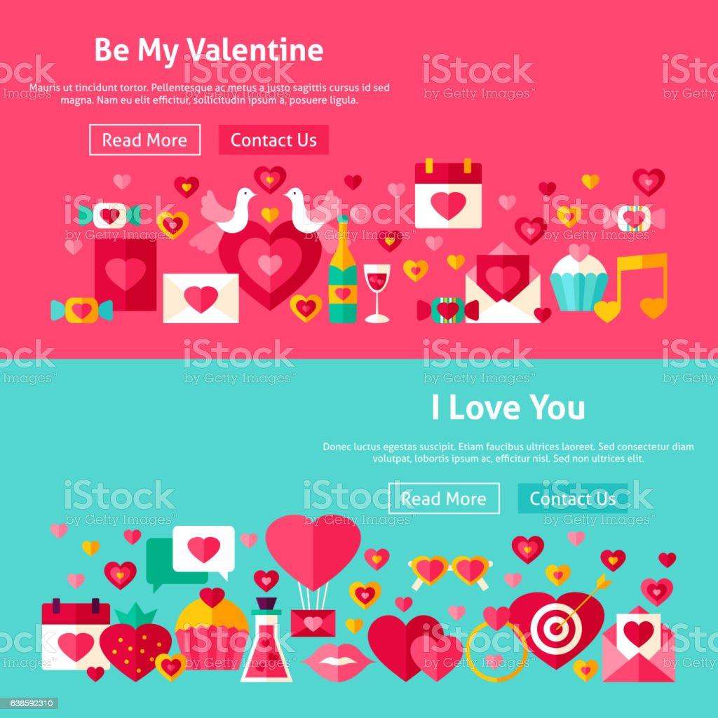 Valentines Day Website Banners vector art illustration