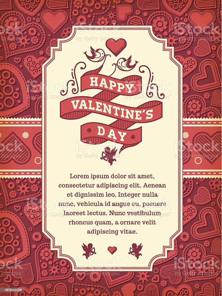 Valentine's Day Wishes vector art illustration