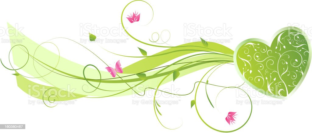 Valentine's floral wave background royalty-free stock vector art