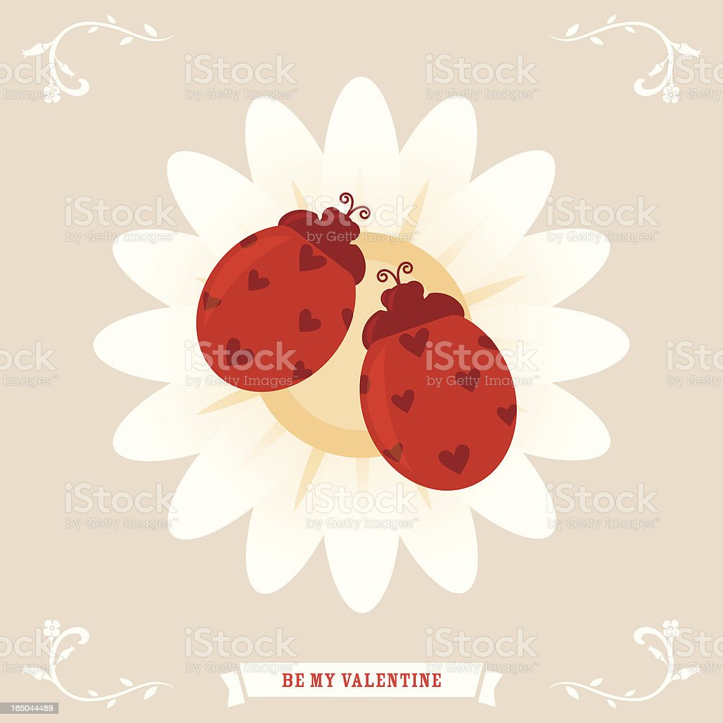 Valentine's Greetings: A pair of love bugs vector art illustration
