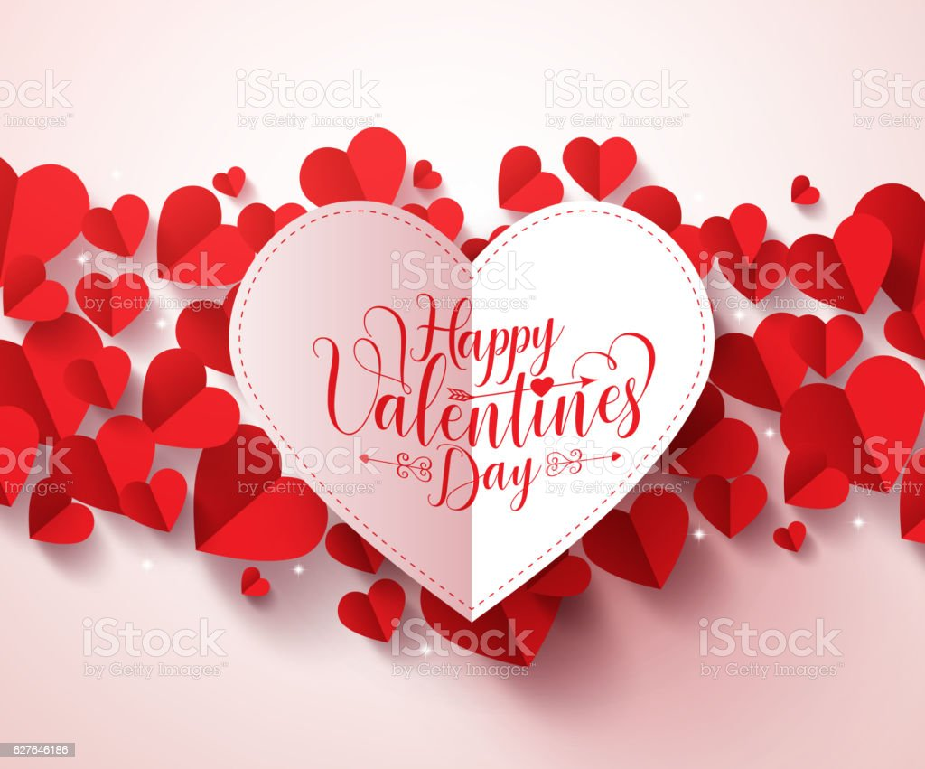 Valentines greetings card design in white with happy valentines day vector art illustration