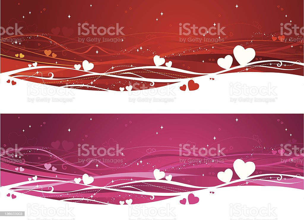 Valentine's heart wave red and pink background templates royalty-free stock vector art