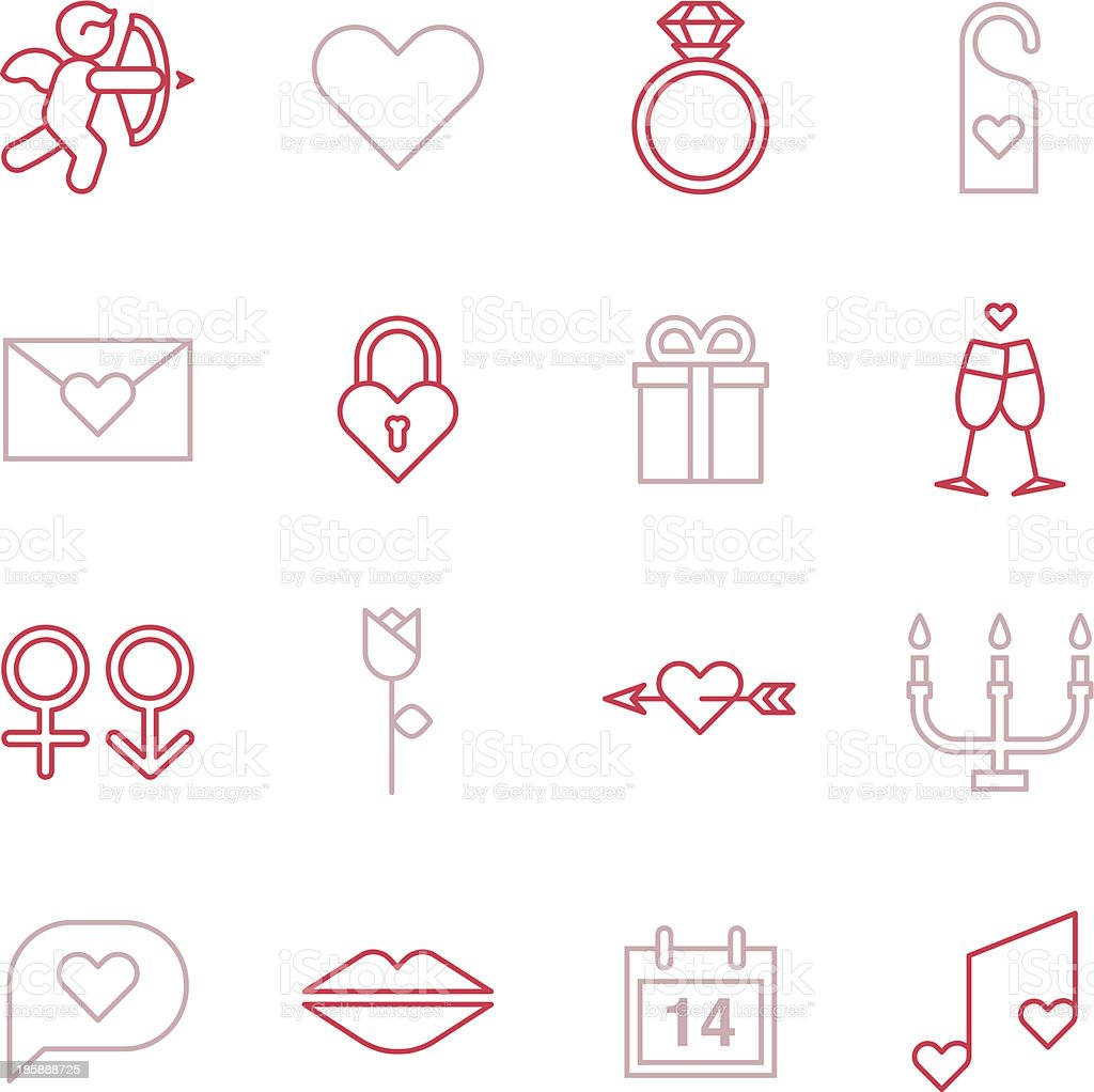 Valentines Icons - Line Color Series royalty-free stock vector art
