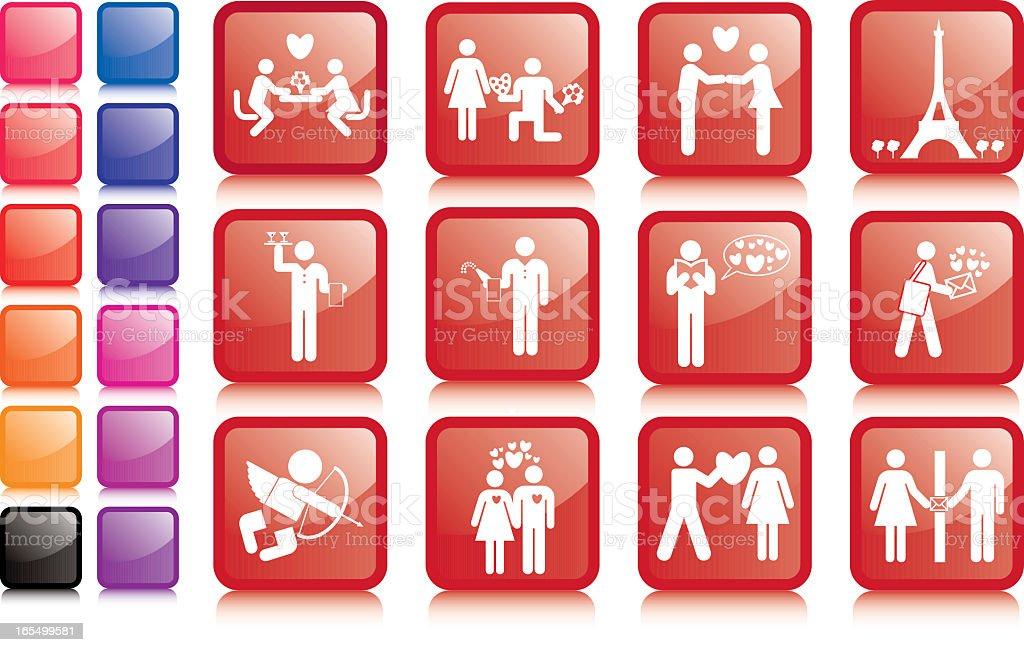 Valentines icons vector art illustration