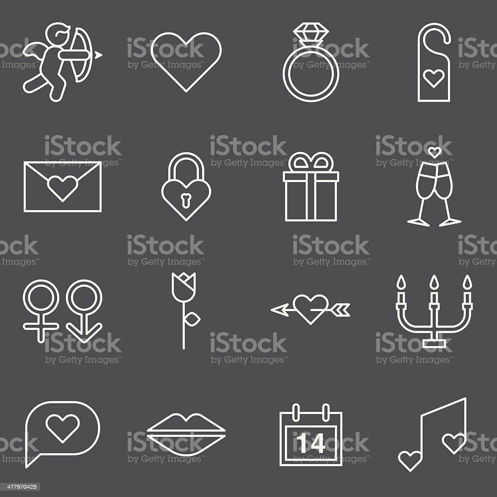 Valentines Icons - White Series royalty-free stock vector art
