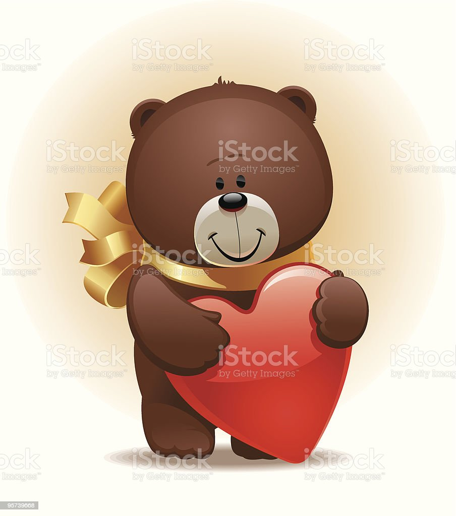 Valentines illustration: small cute bear with bow & heart royalty-free stock vector art