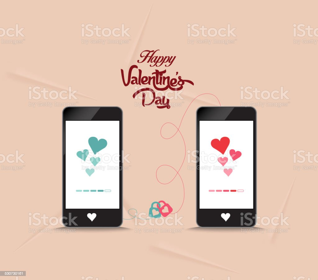 valentines onnecting hearts together by phone vector art illustration