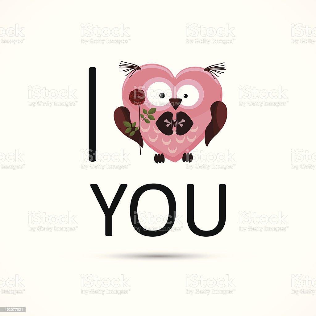 Valentines owl love you card. vector art illustration