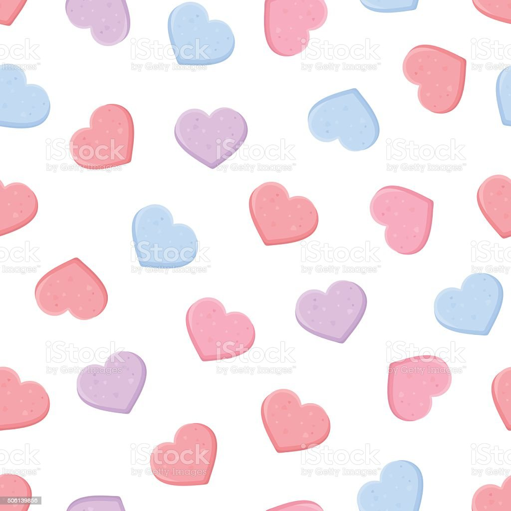 Valentine's seamless pattern with colorful sweetheart candies. Vector illustration. vector art illustration