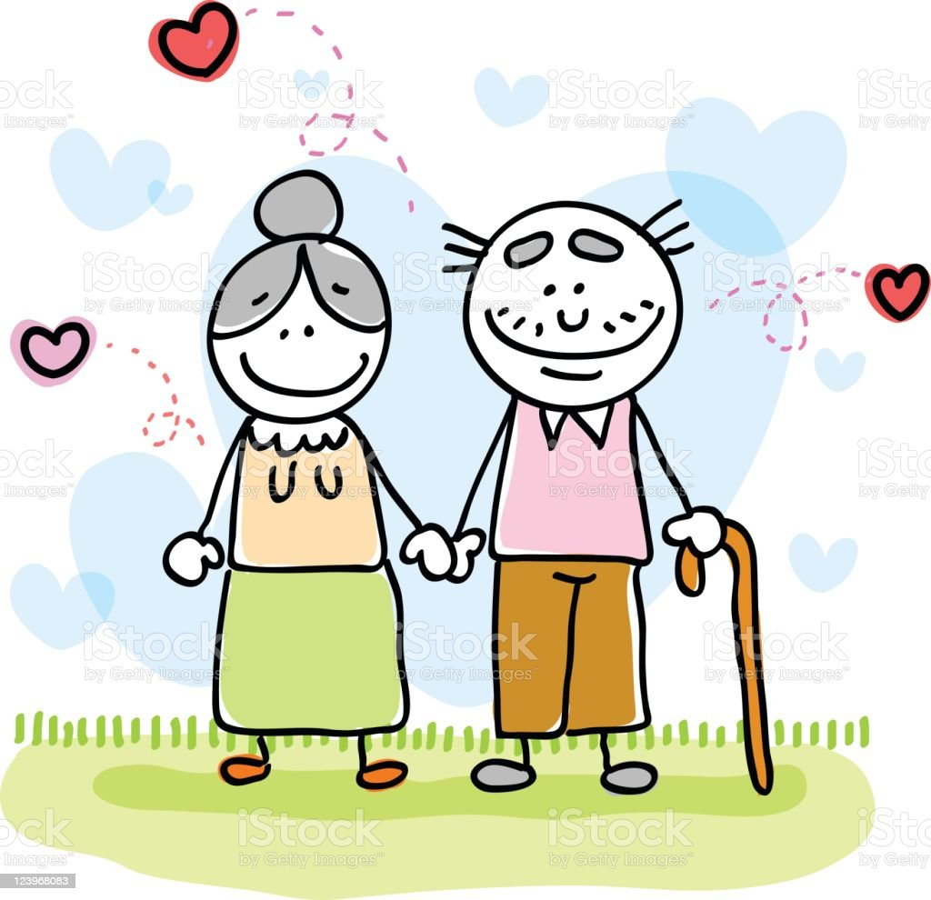 valentines senior lover couple holding hands cartoon stock vector