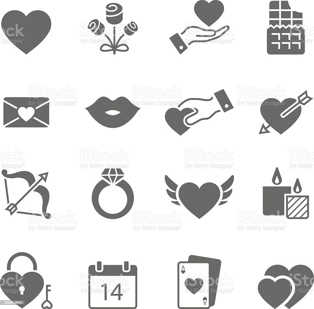 Valentines solid icons vector art illustration