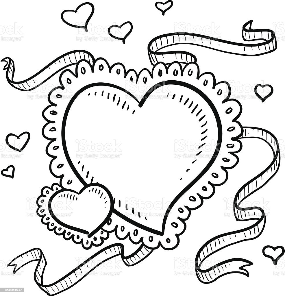 Valentin's Day heart sketch royalty-free stock vector art