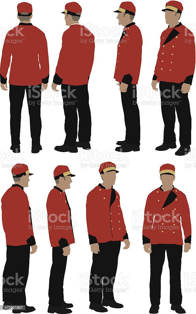 Personel valet vector art illustration