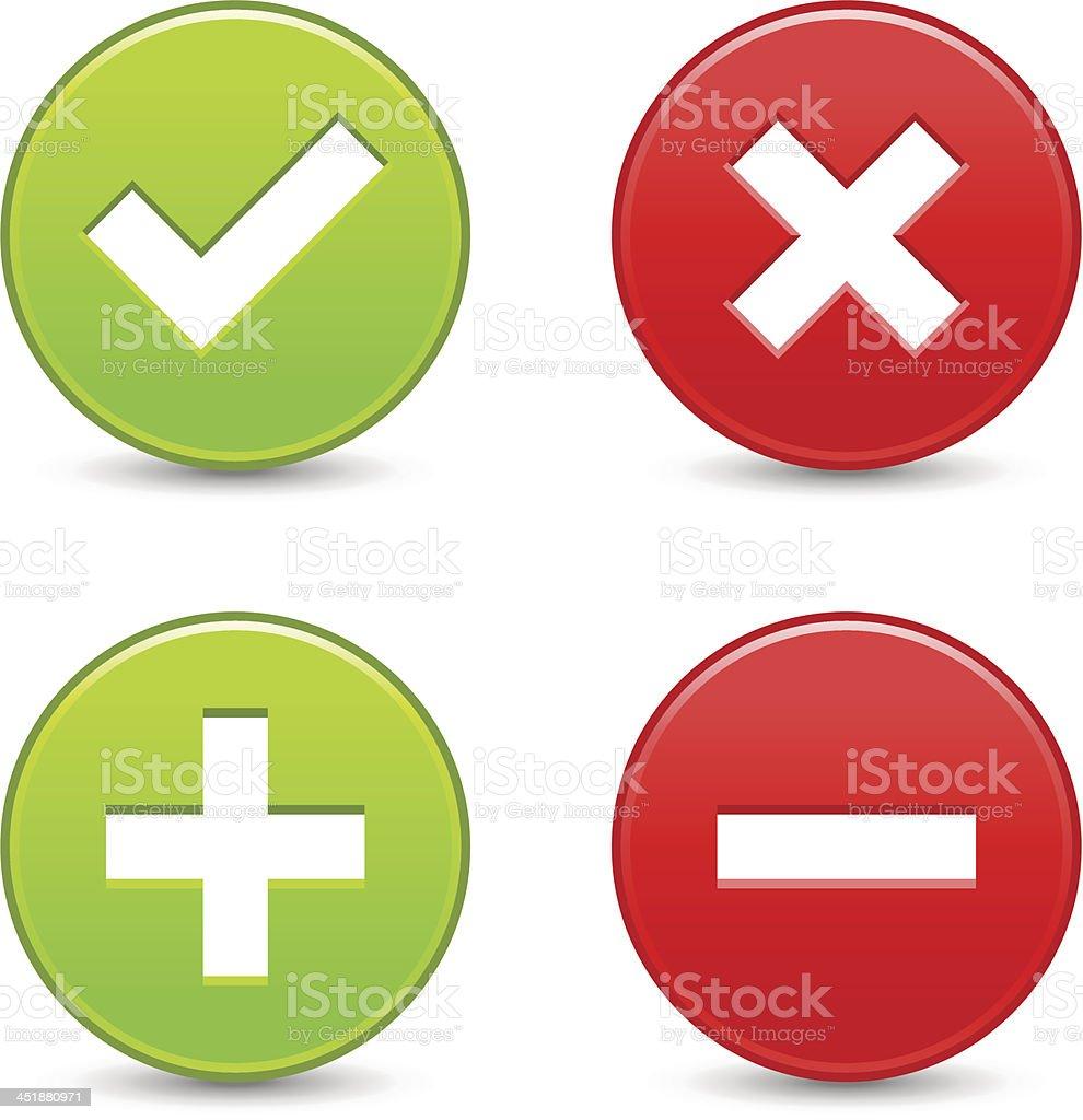 Validation icon circle button plus minus check mark delete sign vector art illustration
