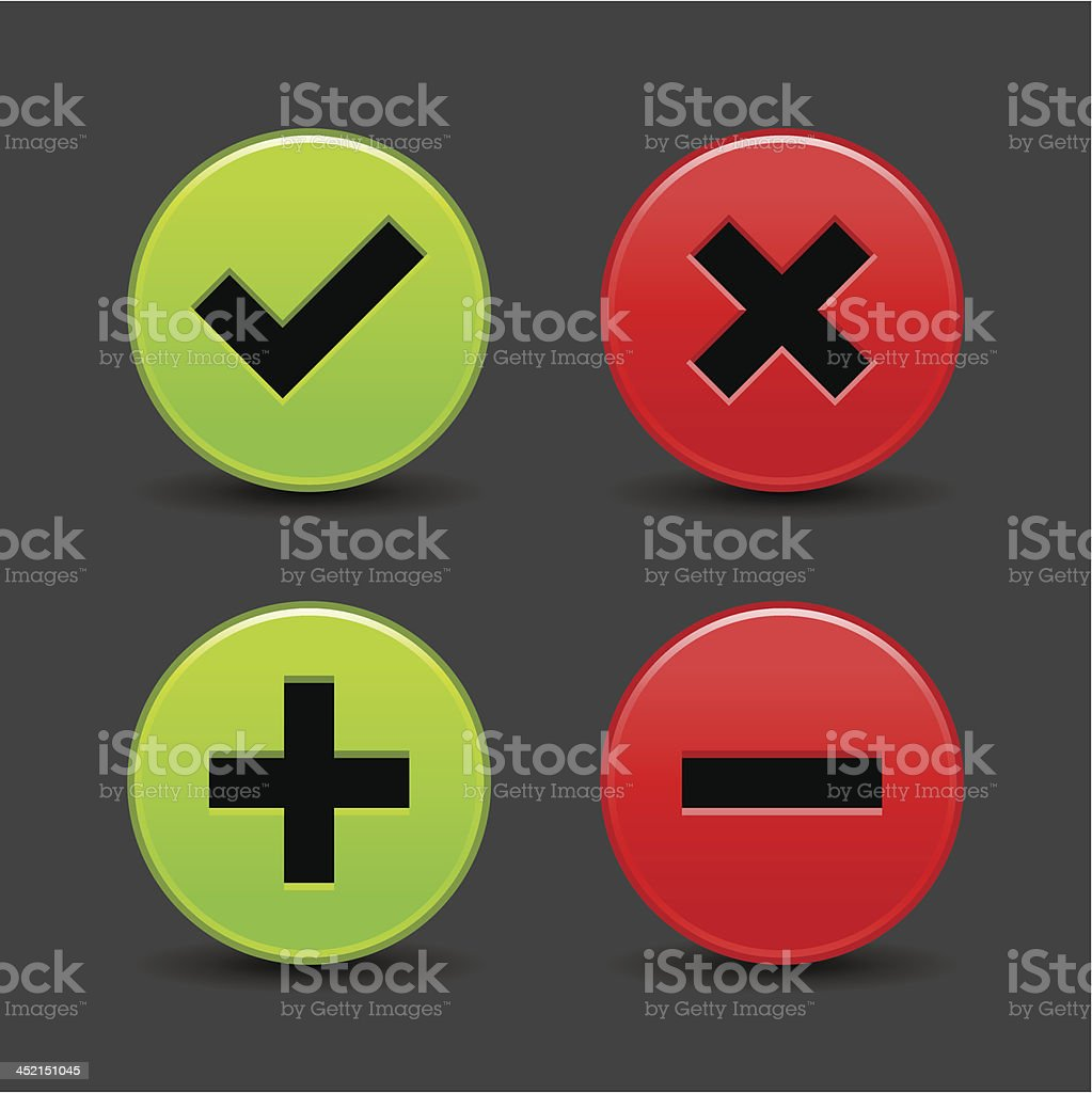 Validation icon plus minus check mark delete sign gray background royalty-free stock vector art