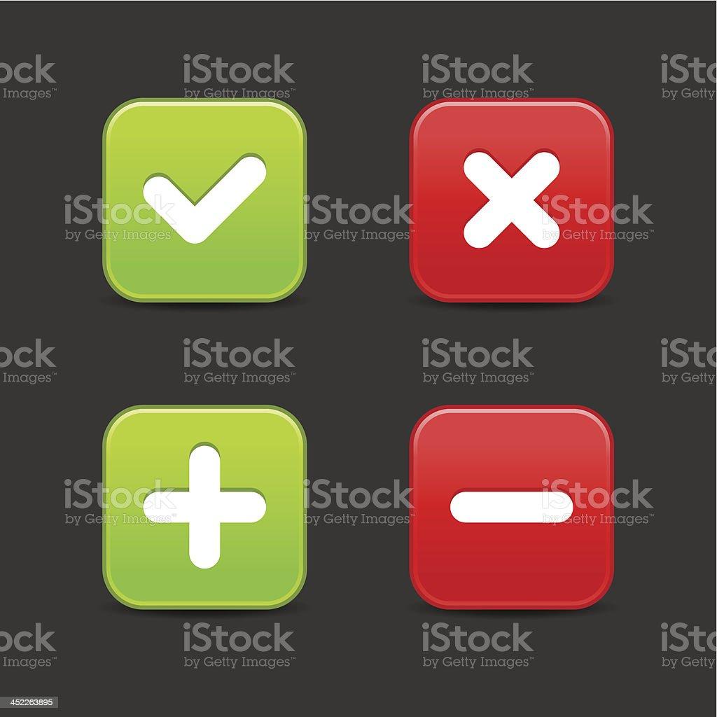 Validation icon plus minus check mark delete sign square button royalty-free stock vector art