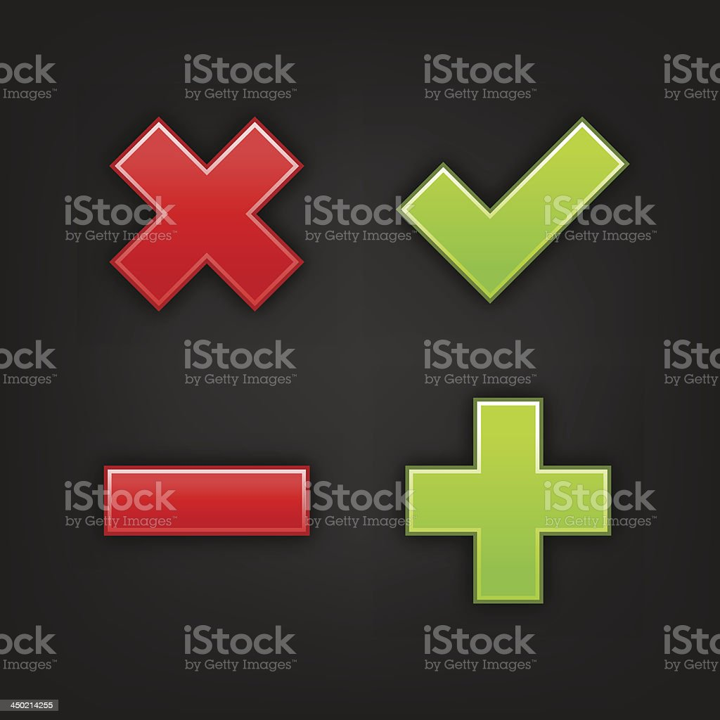 Validation icon set green check mark plus red delete minus royalty-free stock vector art