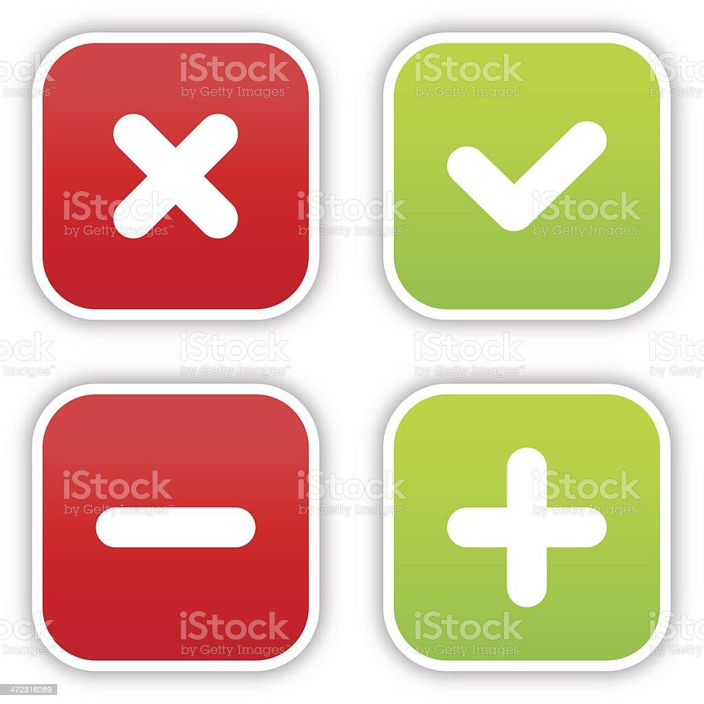 Validation sticker square label satin icon web button shadow vector art illustration