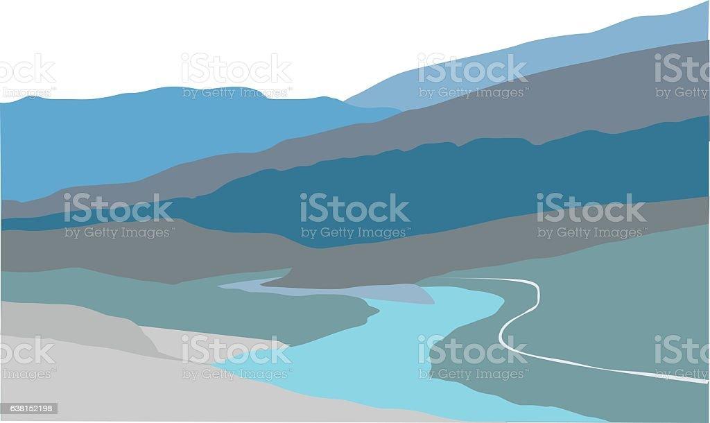 Valley Rivers vector art illustration