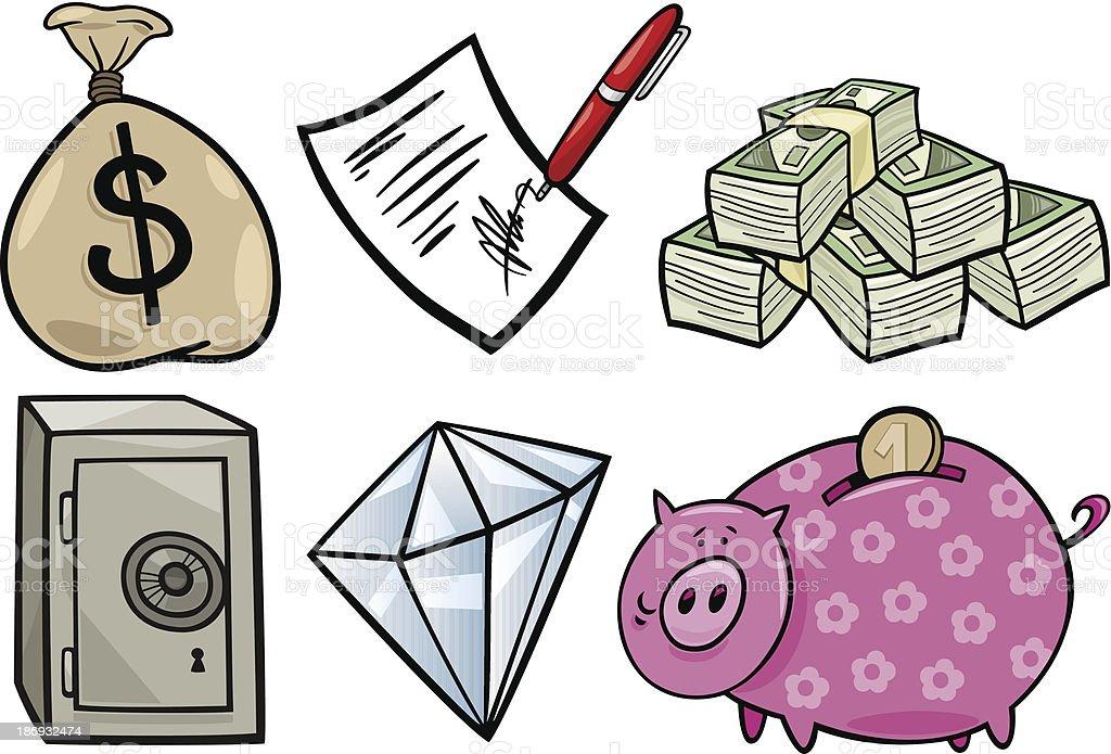 valuable objects cartoon illustration set royalty-free stock vector art