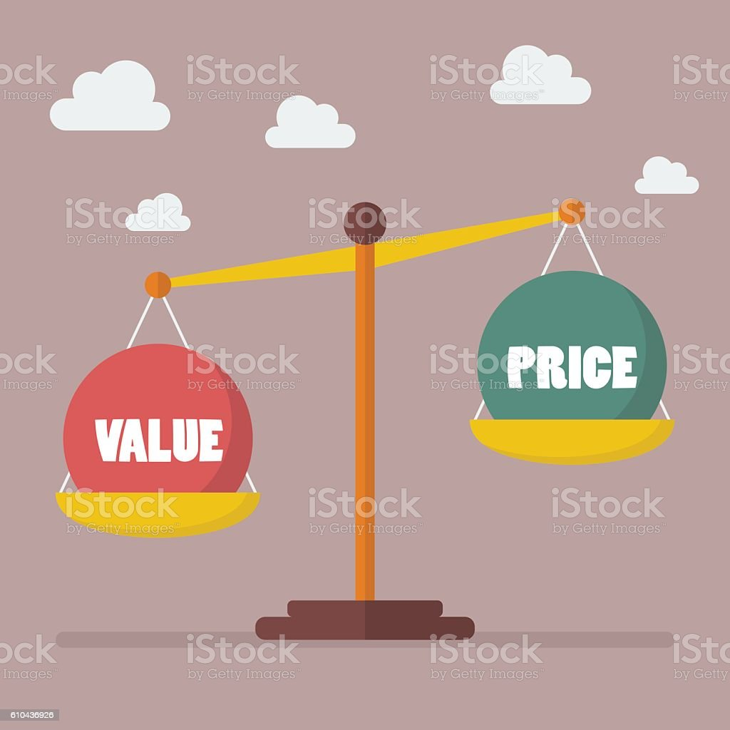 Value and Price balance on the scale vector art illustration