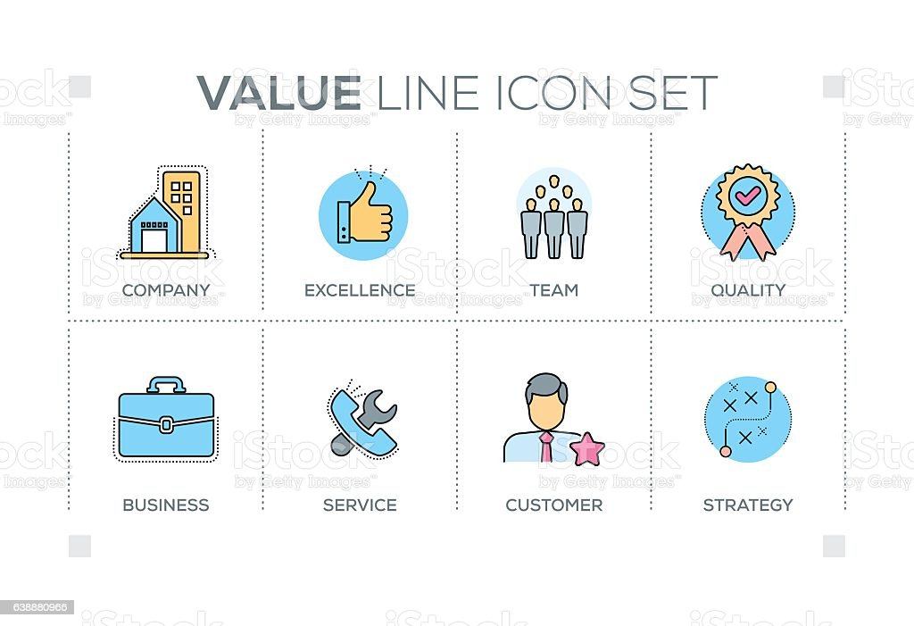 Value keywords with line icons vector art illustration