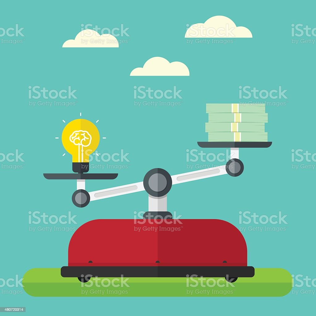 Value of idea. Concept of brain and money vector art illustration
