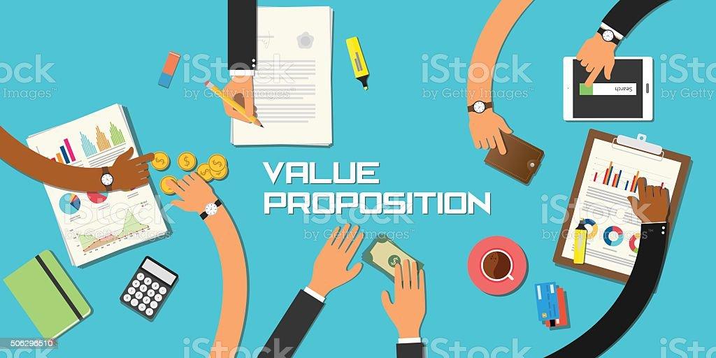 value proposition concept team work business vector art illustration