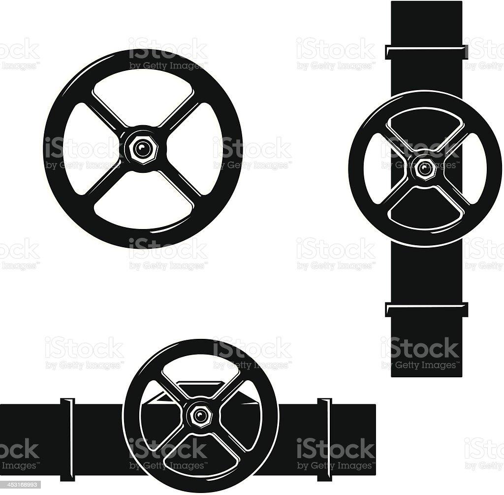 Valve Wheel and Steam Pipe Plumbing vector art illustration