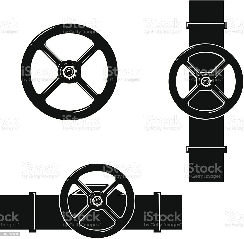 Valve Wheel and Steam Pipe Plumbing vector art illustration