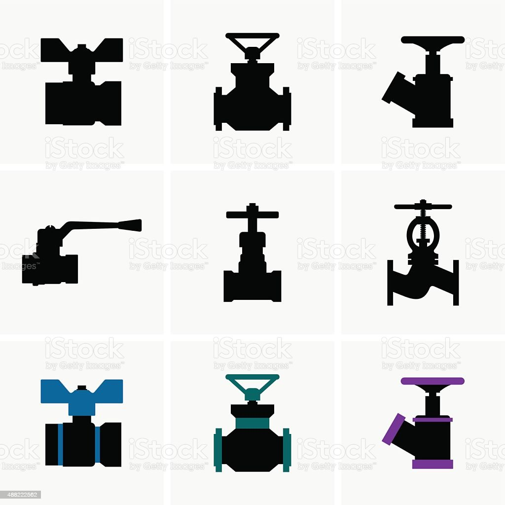 Valves vector art illustration
