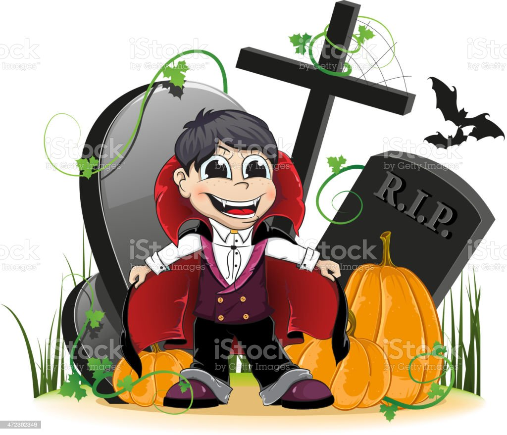 Vampire and pumpkins on the cemetery royalty-free stock vector art