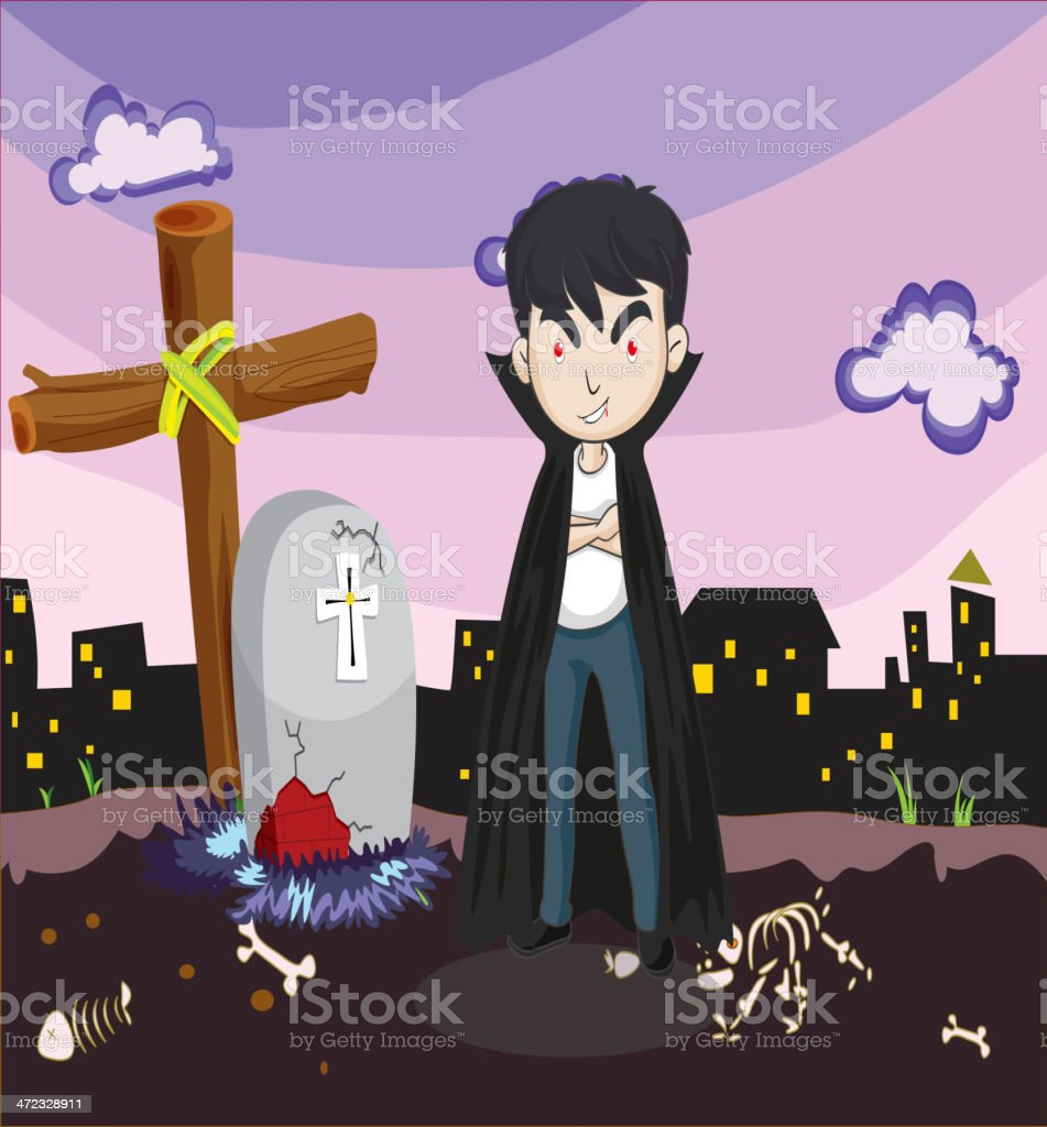Vampire at the cemetery royalty-free stock vector art