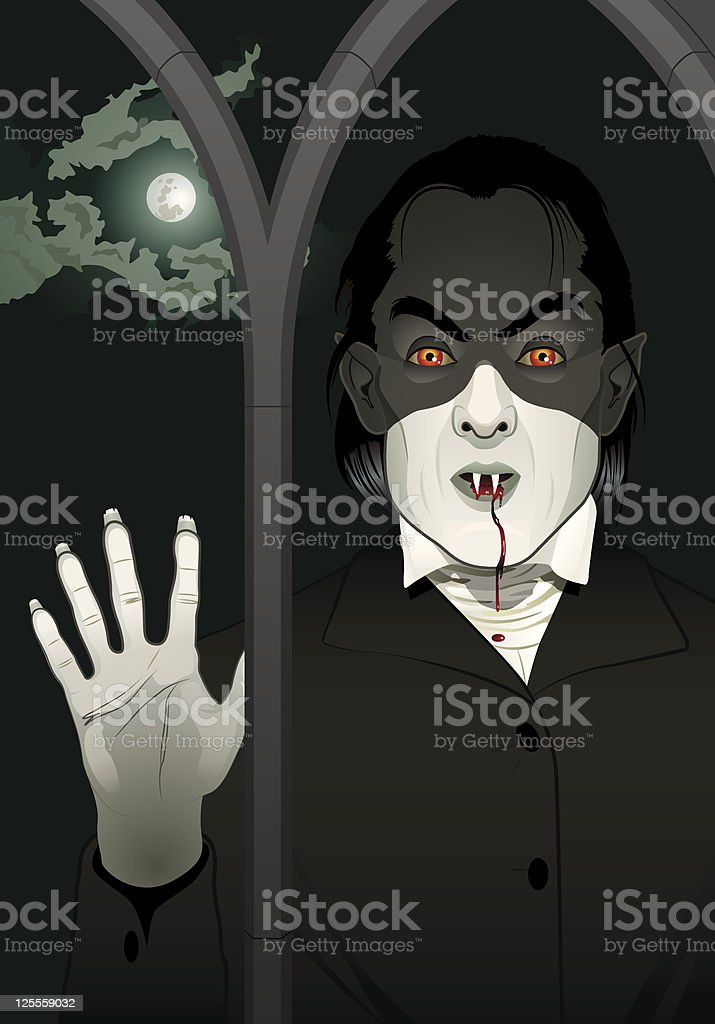 Vampire at the Window royalty-free stock vector art