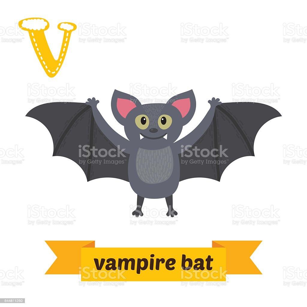 Vampire bat. V letter. Cute children animal alphabet in vector. vector art illustration