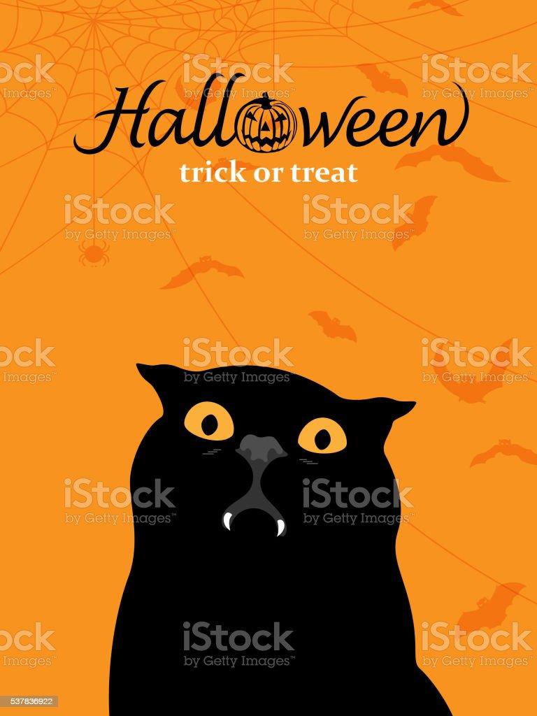 Vampire Black Cat vector art illustration