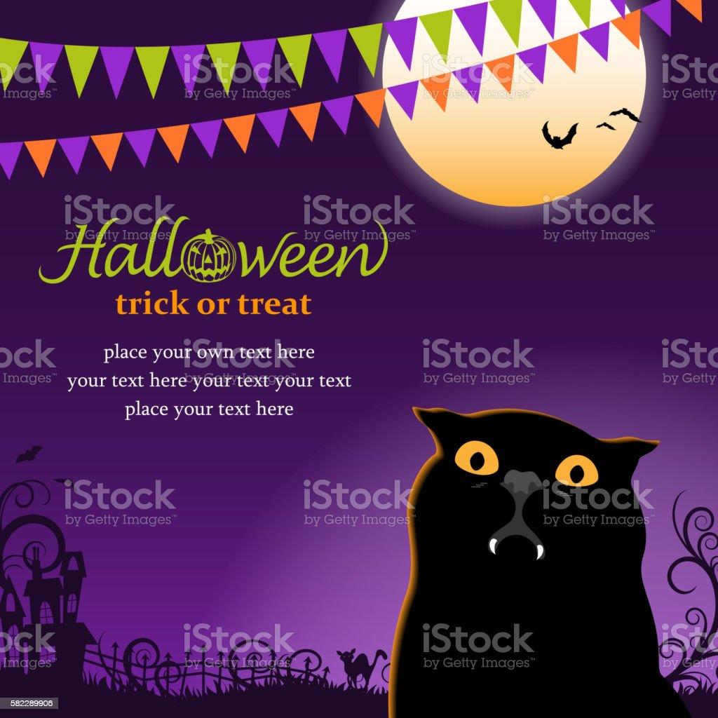 Vampire Cat Party vector art illustration