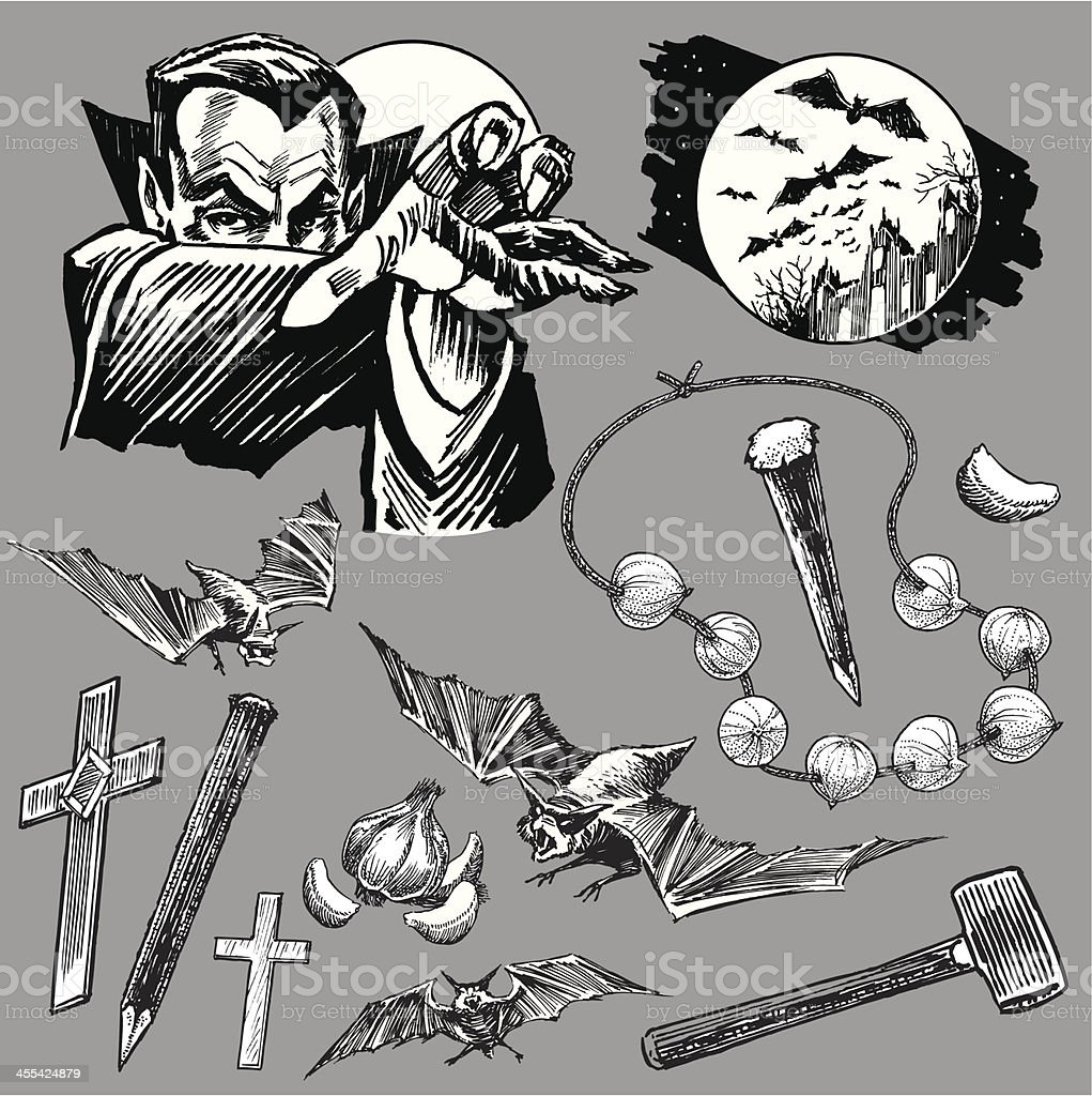 Vampire Dracula Collection with Bats for Halloween royalty-free stock vector art