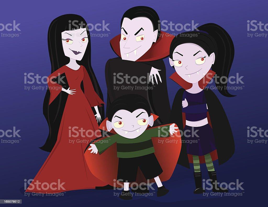 Vampire Family vector art illustration