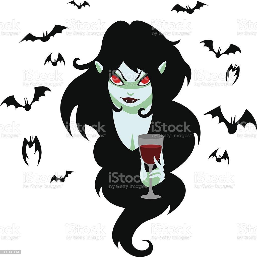 Vampire girl and bats. vector art illustration