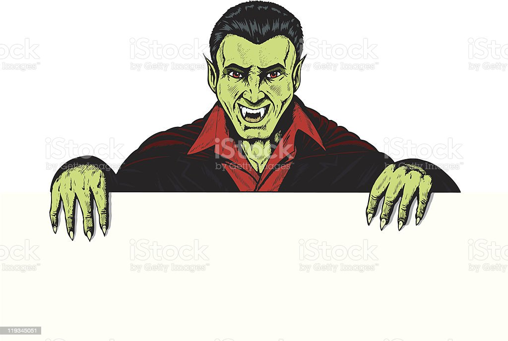 Vampire holding up a sign royalty-free stock vector art