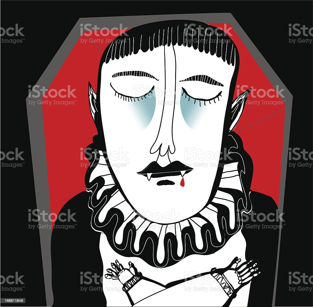 Vampire sleeps in a coffin after sucking blood royalty-free stock vector art