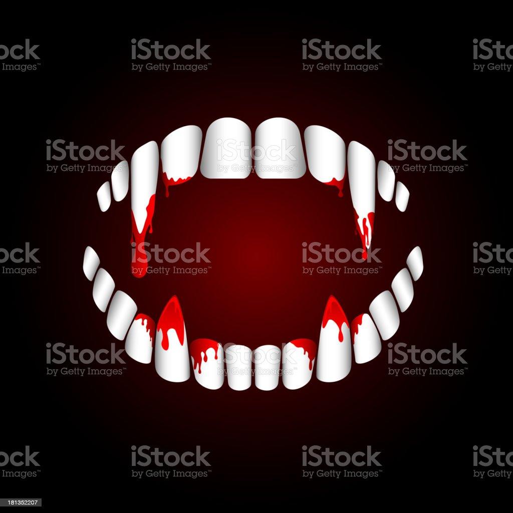 Vampire teeth vector art illustration