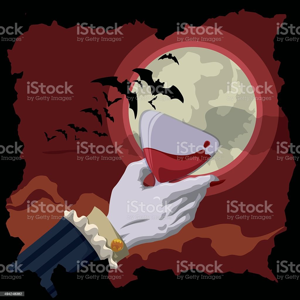 Vampire Toast at Red Night with Moon and Bats. vector art illustration