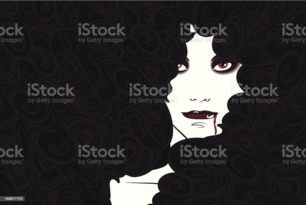 Vampire Woman vector art illustration