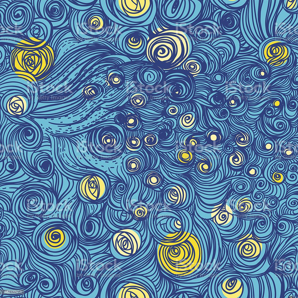 Van Gogh sky vector art illustration