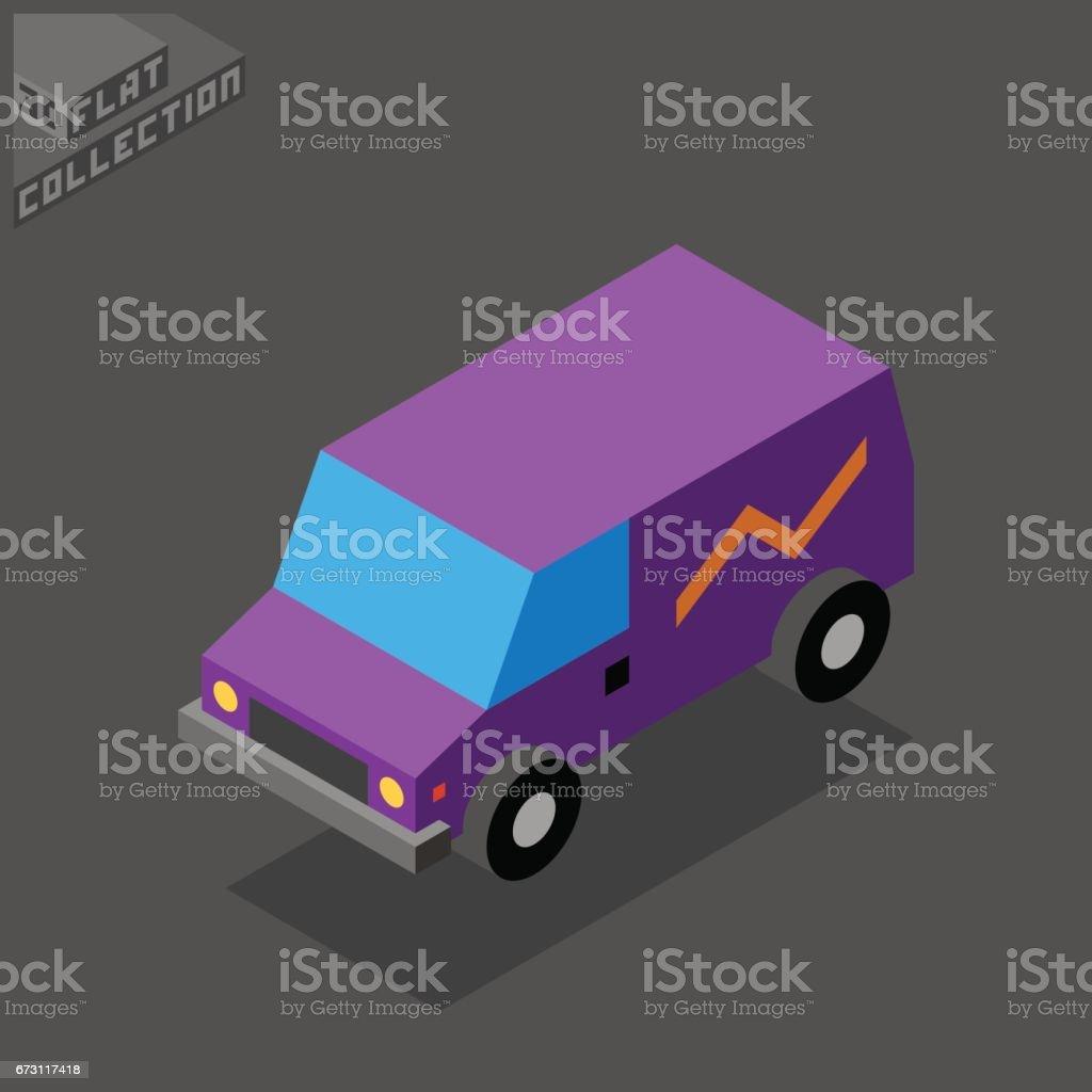 Van Icon. 3D Isometric Low Poly Flat Design. Vector illustration. vector art illustration