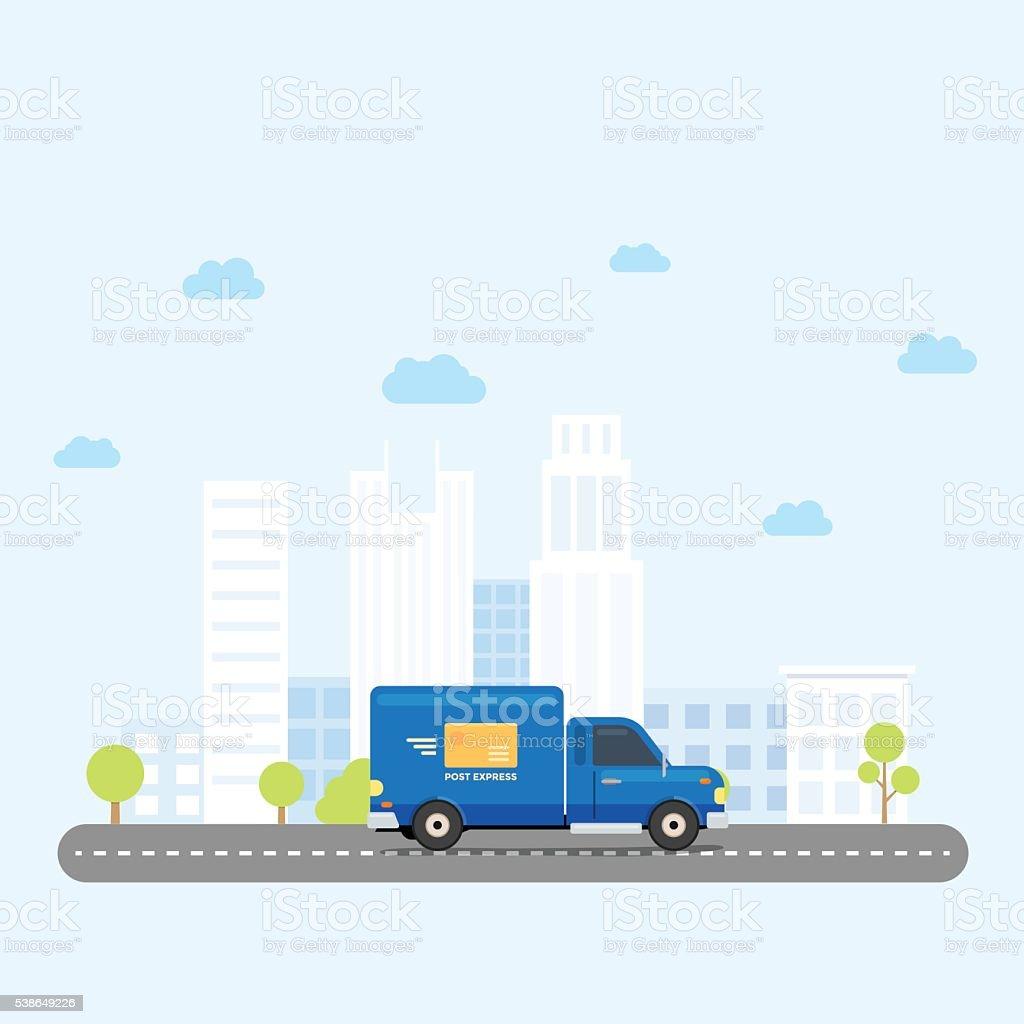 Van Truck City vector art illustration